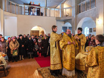 Inspection of the construction of the Church and the Episcopal service in the Kaluga region of Russia. royalty free stock photos