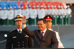 Inspection of Guard of Honour. Speaker of Parliament of Singapore Mr Abdullah Tarmugi being driven during Inspection of Guard of Honour, accompanied by Parade Royalty Free Stock Photography