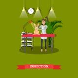 Inspection médicale dans l'illustration de vecteur de concept de clinique de vétérinaire, conception plate illustration libre de droits