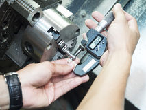 Inspection machining parts Royalty Free Stock Image