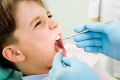 Inspection of oral cavity Stock Photography