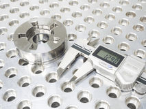 Inspection part by CMM. Inspection high precision mold part by CMM Stock Photo
