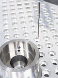 Inspection part by CMM. Inspection high precision mold part by CMM Royalty Free Stock Photography