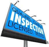 Inspection Qualified Certified Licensed Trusted Billboard Advert. Inspection word on a blue billboard advertising an inspector service that is qualified Stock Photo