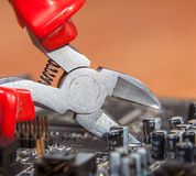 Inspection and repair of electronics. Background close-up Royalty Free Stock Image