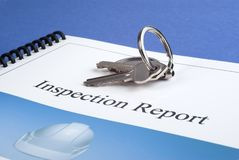 Inspection Report and Keys Stock Image