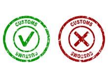 Inspection rubber stamp on customs border. Customs made border, inspection customer imprint, vector illustration vector illustration