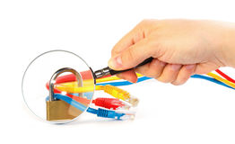 Inspection of secured network cables Royalty Free Stock Photos