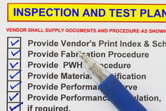 Inspection test plan Stock Photo
