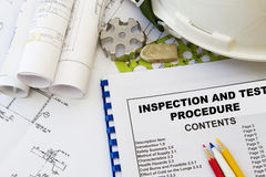 Inspection and test procedure. And engineering tools with hard hat royalty free stock photos