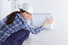Inspection on ventilation device Stock Images