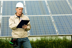 Inspection Visit At Solar Power Station Stock Photo