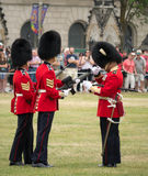 Inspection of Weapon. At the changing of the Guards ceremony on Parliament Hill in Ottawa, Ontario,CAnada stock photo