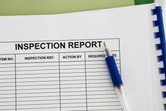 Inspectionl raport zdjęcia stock