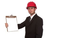 The inspector  3. Architect holding up a blank clipboard Royalty Free Stock Photo