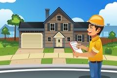Inspector casero delante de una casa stock de ilustración