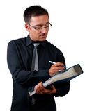 Inspector with checklist and documents  on white Royalty Free Stock Images