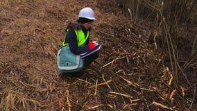 Inspector de sexo femenino de la silvicultura que comprueba derribando arbustos almacen de metraje de vídeo