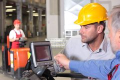 Inspector, engineer working with panel Stock Photography