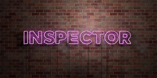 INSPECTOR - fluorescent Neon tube Sign on brickwork - Front view - 3D rendered royalty free stock picture Stock Photography