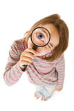 Inspector girl. Girl with magnifying glass isolated on white Stock Photo