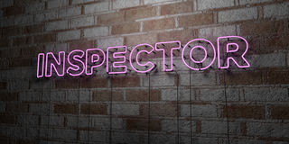INSPECTOR - Glowing Neon Sign on stonework wall - 3D rendered royalty free stock illustration Stock Image