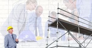 A group of architects looking a blueprint and 3d scaffolding with inspector looking the 3d scaffolding with group of architects background stock image malvernweather Images