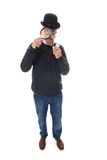 Inspector with magnifier Stock Photo