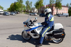 The inspector of motorized units road policing controls the highway. Royalty Free Stock Images