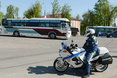 The inspector of motorized units road policing controls the highway. Stock Photo