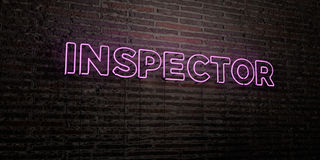 INSPECTOR -Realistic Neon Sign on Brick Wall background - 3D rendered royalty free stock image Stock Image