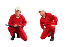 Inspector in red uniform and white hardhat at work. Isloated,2in1 royalty free stock photos