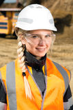 Inspectors in an open pit. Woman working on a project in an open pit Stock Photo