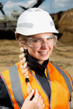 Inspectors in an open pit. Woman working on a project in an open pit Stock Image