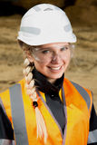 Inspectors in an open pit. Woman working on a project in an open pit Stock Images