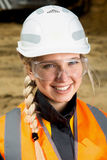 Inspectors in an open pit. Woman working on a project in an open pit Royalty Free Stock Images