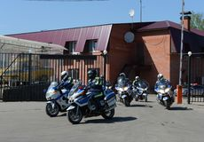 Inspectors of traffic police on BMW motorbikes to go to patrol the roads. Stock Images