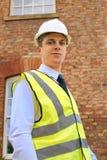 Inspektör, arkitekt eller egenskapsinspektör. arkivfoto