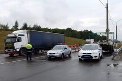 Inspektoren der Verkehrspolizei der Polizei auf dem Weg ` Don-` Lizenzfreie Stockbilder