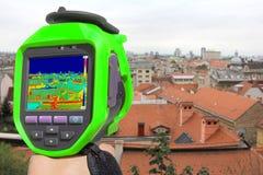 Inspelning Zagreb med den termiska kameran Arkivfoton