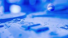 Inspiração azul da introdução, contexto futurista azul do movimento filme