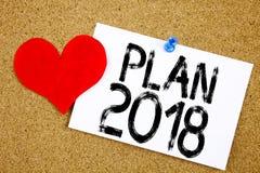 Inspiração conceptual do subtítulo do texto da escrita da mão que mostra o conceito 2018 do plano para o plano de ação 2018 da es Foto de Stock