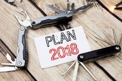 Inspiração conceptual do subtítulo do texto da escrita da mão que mostra o plano 2018 Conceito do negócio para o plano de ação pl Imagem de Stock