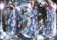 inspiração fantasy Mulheres em vestidos floridos entre árvores fotos de stock royalty free