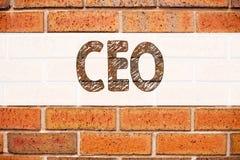 Inspiración conceptual del subtítulo del texto del aviso que muestra al CEO Concepto del negocio para el líder de funcionamiento  Imagenes de archivo