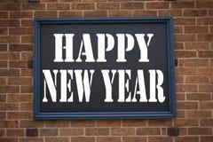 Inspiración conceptual del subtítulo del texto de la escritura de la mano que muestra a aviso Feliz Año Nuevo Concepto del negoci Fotografía de archivo