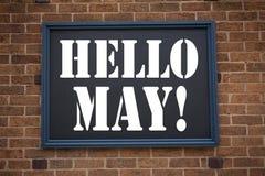 Inspiración conceptual del subtítulo del texto de la escritura de la mano que muestra el aviso hola mayo Primavera Concepto del n Fotos de archivo