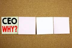 Inspiración conceptual del subtítulo del texto de la escritura de la mano que muestra el concepto del CEO Business para el líder  Imágenes de archivo libres de regalías