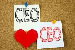 Inspiración conceptual del subtítulo del texto de la escritura de la mano que muestra el concepto del CEO para el wr de funcionam Imágenes de archivo libres de regalías
