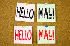 Inspiración conceptual del subtítulo del texto de la escritura de la mano que muestra el hola mayo Concepto del negocio de la pri Imagenes de archivo